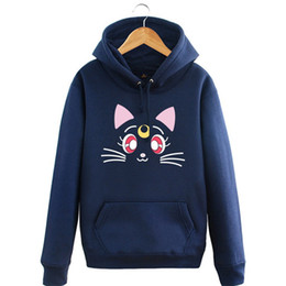 China Kukucos Anime Sailor Moon Beauty Warrior Luna Cats Month Hummer Jacket Plus Vase Thicker Style Hooded Cosplay Costume Sweater suppliers