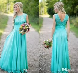 Barato Vestidos De Renda Longa E Turquesa-2018 New Turquoise Country Bridesmaid Dresses Scoop Chiffon Beaded Lace V Backless Long Vestidos de dama de honra para casamento Maid of Honor Dress