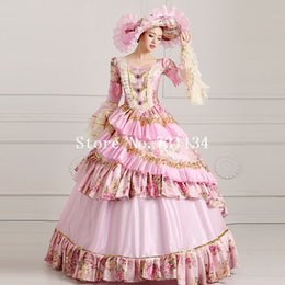 $enCountryForm.capitalKeyWord Canada - Gigh-grade Vintage Pink Floral Multi-layer Women Party Ball Gowns 18th Century Costume Victorian Marie Antoinette Dresses