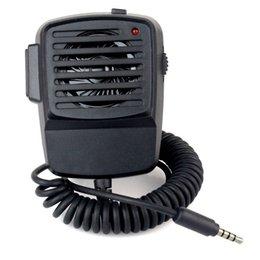 Venta al por mayor de Nuevo Black Handheld Shoulder Mic Altavoz Micrófono Walkie-talkie Transceptor Play Music Volume Control for Phone B1010A
