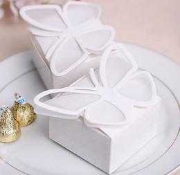 Butterflies Baby Shower Canada - 100pcs White Butterfly Candy Box Boxes For Wedding Party Baby Shower Favor Gift