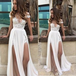 short bohemian beach wedding dresses Australia - 2018 A Line Wedding Dresses Jewel Neck Illusion Short Sleeves Chiffon Lace Appliques Split Sweep Train Overskirts Beach Bohemian Bridal Gown