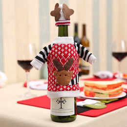 wholesale red hat clothing NZ - 1 Set Cute elk Sweater Red Wine Bottle Cover Reindeer Dinner Table Decoration New Year Christmas Decor Clothes With Hats