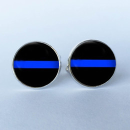 Chinese  2016 New Design Thin Blue Line Stud CuffLinks , Striped Jewelry, Black and Blue art photo Cuff Links glass dome Cuff Links 6 manufacturers