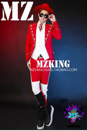 Wholesale black red white costume resale online - Male singer fashionable nightclub in Europe and the runway looks black and white red palace big lapels costumes S xl