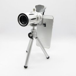 Telescope Free Shipping Canada - Cat Clip Metal 12X Universal Zoom optical Telescope Camera telephoto Lens with tripod mobile phone len Free Shipping