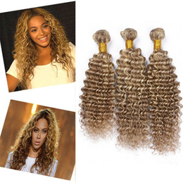 Blonde hair Brown highlights online shopping - 8A Grade Brown Blonde Highlight Deep Wave Piano Hair Bundles Mixed Deep Curly Human Hair Weaves Tone Ombre Hair