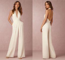 Modest Wedding Dress 2016 BHLDN Outfit Halter Sleeveless A Line Simply Sexy Backless Satin Bridal Custom Made