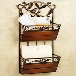 Wholesale Continental Iron Retro Living Room Wall Mounted Shelves Magazine  Two Newspapers Newspaper Rack Shelf Study Living Room Wall Shelving On Sale