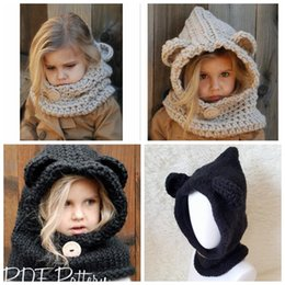 Llevar De Punto Baratos-Kids Knitted Cute Bear Bufanda Caps Girls Infant Warm Knitted Hats más caliente Gorro de Invierno Sombrero de Punto Cálido Cap KKA3455