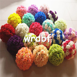 Wholesale roses kiss resale online - Silk Rose Flower Balls cm Diameter Kissing Balls Color Designs for Wedding Party Shops Artificial Decorative Flowers