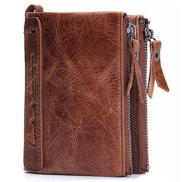 China Mens wallet genuine leather short style hand bag fashion purse luxury cowhide double zipper wallet GZN0029 suppliers