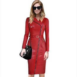 leather winter wear Canada - lcw New fashion Womens Winter Fashion Asymmetrical Zipper Belted Synthetic Leather Windbreaker Wear to Work Fitted Bodycon Dress