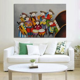 Band Paint Canada - New Decorative Oil Paintings Unique Design High Quality Band Playing Living Room Music Art Oil Painting On Canvas