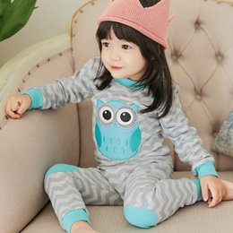 Niños Chico Pjs Baratos-Baby Girls Boys Pijamas Lindo Animal Owl Wave Conjuntos de rayas Niños Manga Larga Navidad PJS Pijamas de Algodón Niños Ropa de Otoño Set A7817