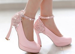 Tête Rose Sexy Pas Cher-Sexy rose diamant paillettes tassel rond tête boucles talons hauts imperméable taiwan robe chaussures soir soirée nuptiale mariage chaussures yzs168