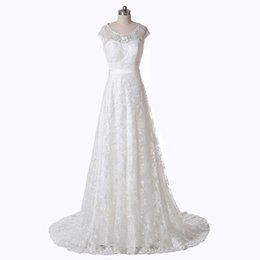 Short Sleeve Ivory Wedding Dress Vintage UK - White Ivory New A-Line Scoop Neckline Real Image Vintage Lace Wedding Dresses vestido de noiva Size 4 6 8 10 12 14 16 ++