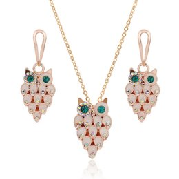 Opal Crystal Necklace Canada - New Brand Design 18K Rose Gold Plated Opal Crystal Rhinestone Owl Pendant Necklace and Drop Earrings Jewelry Sets for Women ZS068