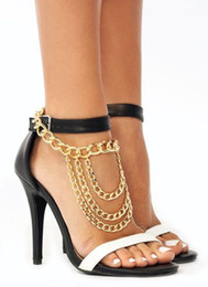 gold slave anklets NZ - Sexy Tassel Anklets Gold Silver Foot Chains High Heels SLAVE ANKLE High-heeled Shoes Accessories Multilayer Heavy Metal Anklet Body Jewellry