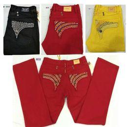 Mens Famous Brand Jean Canada - 2016 new famous brand robin jeans men skinny mens jean Crystal pocket Cotton pants pantalones vaqueros hombre Black red yellow