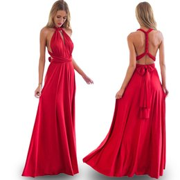 wholesale army clothes 2019 - Wholesale- 2017 Sexy Bohemian Maxi Club Dress Red Bandage Long Women Dress Party Multiway Bridesmaids Convertible Robe L