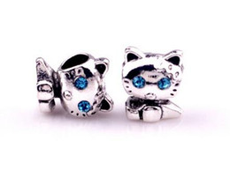 Wholesale Tibetan silver alloy rhinestone Beads kitten Chain Bracelet DIY Jewelry