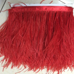 ostrich feather trim wedding dress UK - Red Ostrich Feather Trim Ostrich Feather Fringe for Wedding Dress Strap Carnival Decoration Dress Accessories Ostrich Feather Trim Fringe