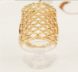 Net Ring Women Canada - Exaggerated 18 K Gold Plated Hollow Out Net long Finger Rings Jewelry for Women Men Wedding Jewelry Free Shipping Wholesale