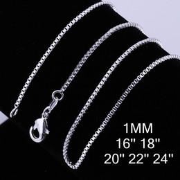 """$enCountryForm.capitalKeyWord NZ - 16 Inch 18 Inch 20 Inch 22 Inch 24inch Byzantine Box Chain 925 Sterling Silver 16-30"""" Snake ChainNecklace Fashion"""