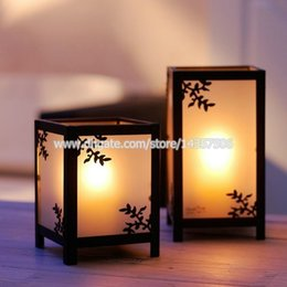 $enCountryForm.capitalKeyWord Canada - Decoration Asian Garden Candle Holder Japanese Shoji Stained Glass Lantern w  Metal Leaves Sketch Wedding Centerpiece Small Large