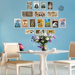 cartoon stamping Australia - New Arrival Commemorative Stamp Wall Art Mural Decal Sticker DIY Home Decoration Wallpaper Decor Fashion Art Decal Poster