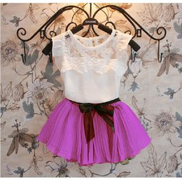 La Jupe S'adapte À La Couleur Pas Cher-Summer Girl Vêtements Set coréenne en mousseline de soie Vest Shirt + Short Skirt Kids Costume 3 Couleur En Stock 100-140 chidlren Sets 1set Retail WD415