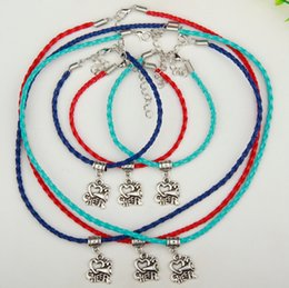 $enCountryForm.capitalKeyWord NZ - New Hot 10Set lot Ancient Silver I Love Cheer Charm Pendant Multi Leather Rope Necklace Bracelet Sets Women Jewelry DIY Holiday Gifts S988