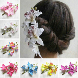 hair flowers clips orchid UK - NEW Wedding Bride Bridesmaids Headdress Headwear Phalaenopsis Orchid Phalaenopsises Hair Clip Artificial Flower Orchids 11 Colors Available