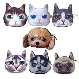 Dog Zipper Canada - Coin Purses Children Cute Cat Dog Face Zipper Case Coin Kids Purse 3D Wallet Makeup Bag Pouch BHCU Gift Kawaii Bag