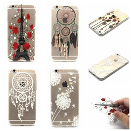 Discount feather flowers - Dreamcatcher Butterfly Transparent Clear Henna White Paisley Flower Mandala Feather Owl Soft TPU Case For Iphone 5 5S 6