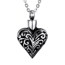 $enCountryForm.capitalKeyWord Australia - Lily Memorial Pendant Urn Ashes Necklace Keepsake Heart shaped retro patterns With Chain Necklace with a Gift Bag