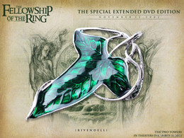 elven jewelry Australia - DHL Free 100pcs lot Top Selling Wholesale Fashion Jewelry Lord of the Rin gs Wizard Leaves Fellowship Elven Leaf Green Necklace
