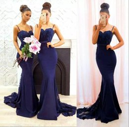 Barato Longo Strapped Vestidos De Noiva-Sexy Straps Spaghetti Mermaid Long Vestidos de dama de honra Lace Sequins Sweetheart Maid Of Honor Vestidos Custom Made Wedding Party Guest Dress