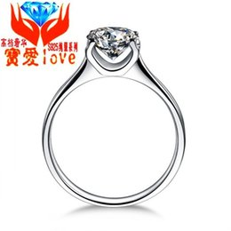 platinum sterling silver rings UK - Fashion jewelry genuine Sterling Silver Plated 925 platinum ring Nvjie Silver Diamond lovers ring generation Love-017
