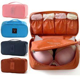 Bra Storage Organizers Canada - Wholesale- Waterproof Women Girl Lady Portable Travel Bra Underwear Lingerie Organizer Bag Cosmetic Makeup Toiletry Wash Storage Case