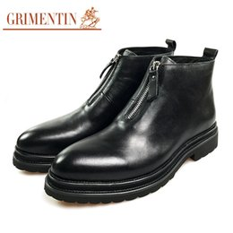 $enCountryForm.capitalKeyWord Canada - GRIMENTIN brand mens boots 100% genuine leather black zip formal business mens ankle boots hot sale fashion dress leather men shoes