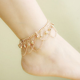 Wholesale Fashion Women Hot Multi Chain Bells Tassel Anklet Ankle Bracelet Foot Jewelry Barefoot Beach Anklets