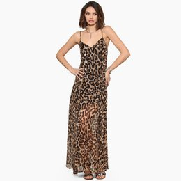 Robes Maxi Chiffon Léopard Pas Cher-Women Leopard Dress Chiffon Casual Print V Neck Spaghetti Strap Sexy Club Robe Vestidos Plus Size XXL Maxi Long Dress