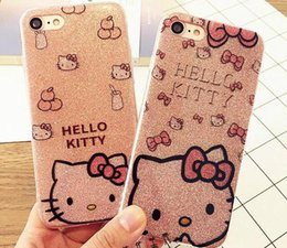 hello cell phones 2018 - Hello Kitty Soft Side PC Case Cover for Iphone X 8 6s 6Plus 7 7Plus Bling Glitter Powder Shine Cell Phone Case discount