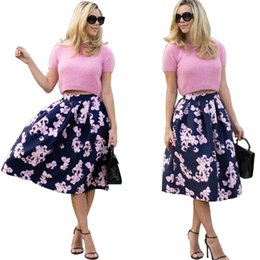 Empire Print Floral Walle Pas Cher-2016 New Fashion Lady Elegant Jupes Lovely Midi Skirt Charmant Chiffon Sexy Skirt Ball Gown Jupe SJ0021