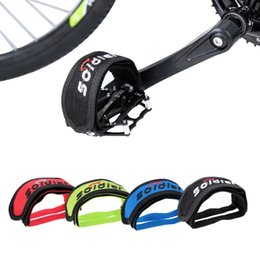 fix toes Canada - New Bicycle Pedal Clip Fixed Gear Fixie BMX Bike Bicycle Anti-slip Double Adhesive Straps Pedal Toe Clip Strap Belt 4 Colors order<$18no tra