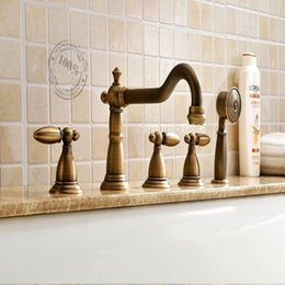 $enCountryForm.capitalKeyWord Australia - Wholesale And Retail Luxury Antique Brass Bathroom Tub Faucet Deck Mounted W  Hand Shower Sprayer 3 Handles