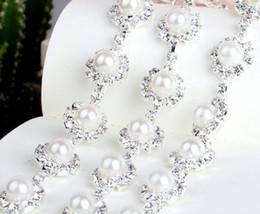 wedding dress rhinestone trim 2019 - 1 Yard Sparkle Rhinestones Pearl Crystals Sunflower Silver Plated Ribbon Chain Trim Fow Sewing Wedding Dress Diy Craft c