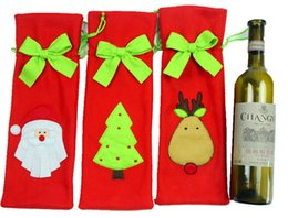 $enCountryForm.capitalKeyWord Canada - 6pcs lot Fabric wine bottle cover cute cap christmas decoration glass bottle wrap wine bag holiday gift santa reindeer snowman design